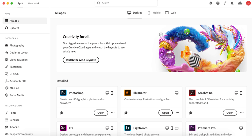Adobe Creative Cloud ในงาน Adobe Max 2019