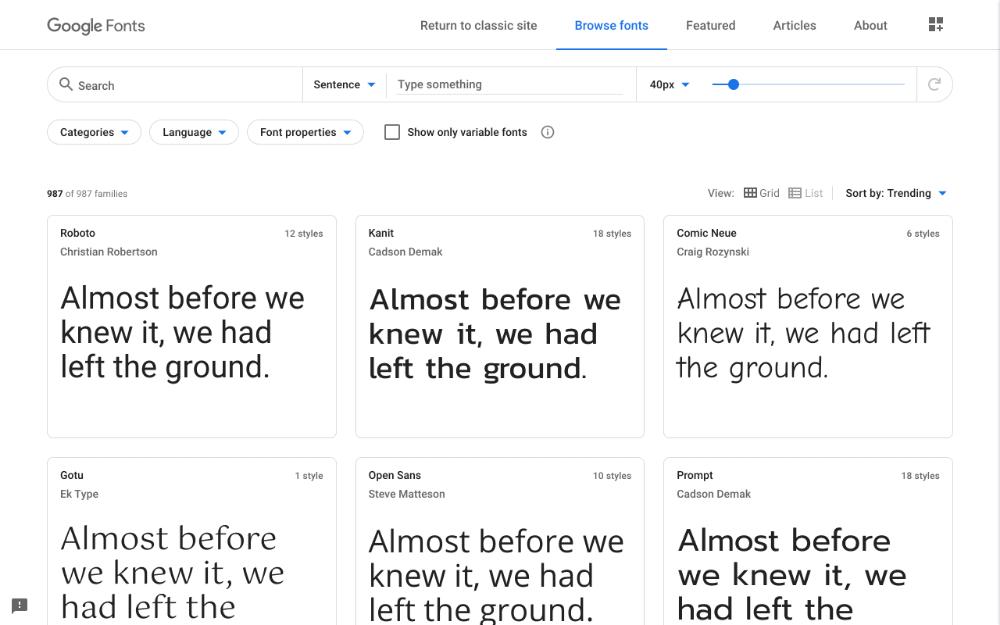 ฟ้อนต์ฟรี จาก Google Fonts