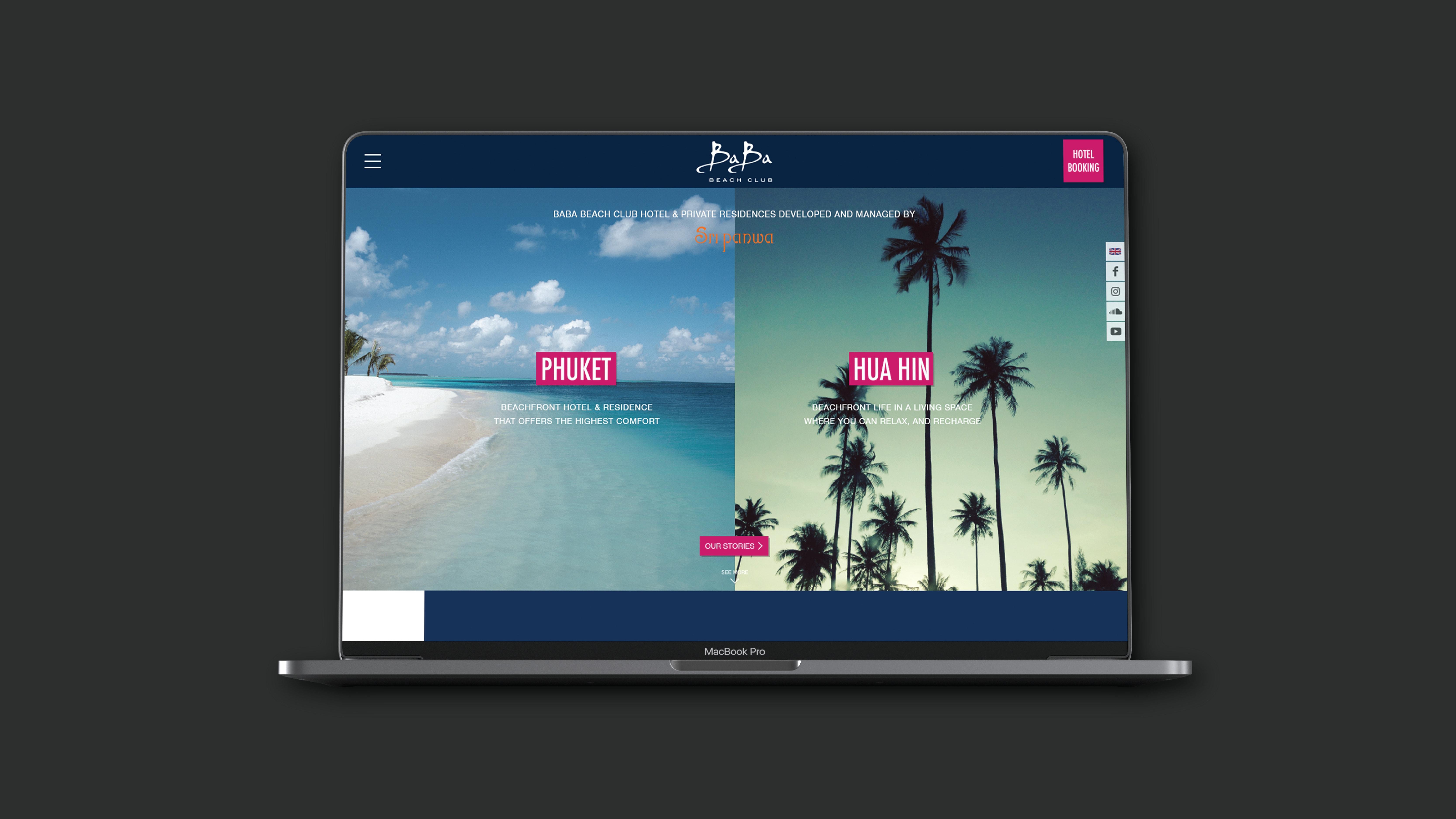 ผลงานออกแบบเว็บไซต์และพัฒนาระบบ BABA BEACH CLUB