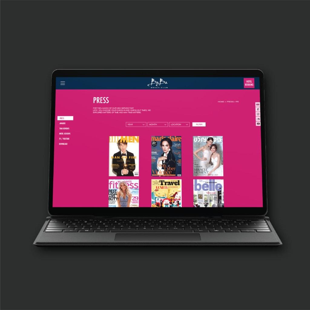 ผลงานออกแบบเว็บไซต์และพัฒนาระบบ BABA BEACH CLUB (Tablet)
