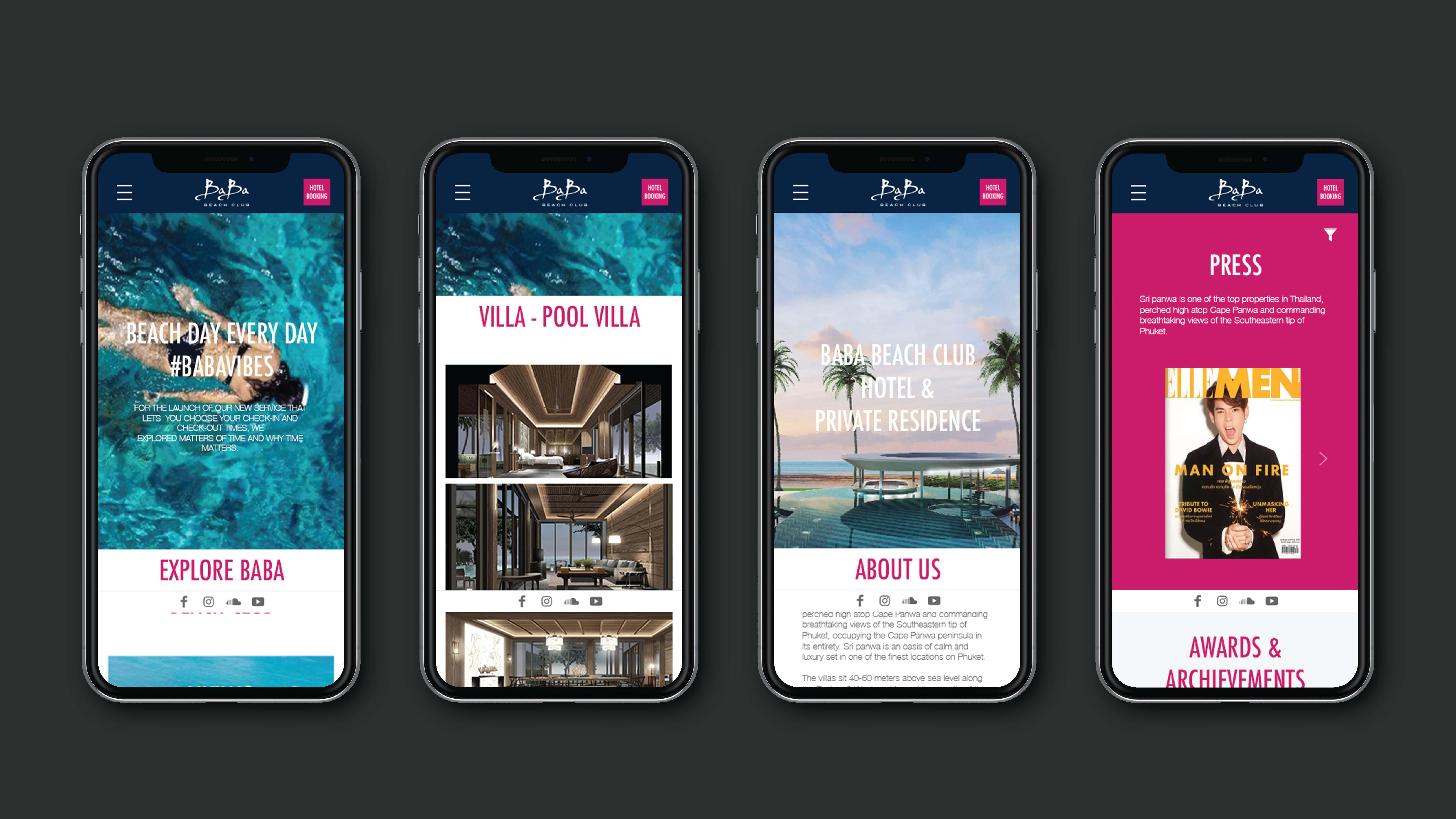 ผลงานออกแบบเว็บไซต์และพัฒนาระบบ BABA BEACH CLUB (Mobile)